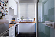 Interior of small modern bright apartment in Warsaw Poland
