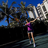 NAPLES, FL -- March 13, 2010 -- Jennifer Hedrick of Summit, New Jersey, gets a break as she plays tennis as her kids partake in the Nature's Wonders program at The Ritz-Carlton in Naples, Fla., on Saturday, March 13, 2010.  The three hour programs let kids experience a more involved, educational nature program while parents get free time to enjoy themselves sans kids.