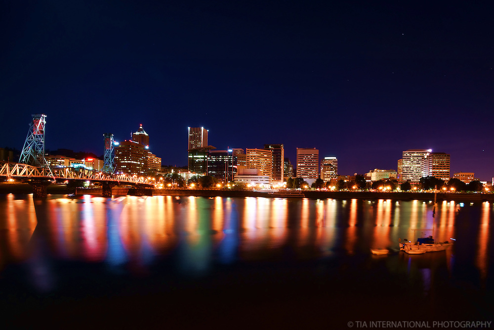 Portland Skyline & Willamette River @ Twilight