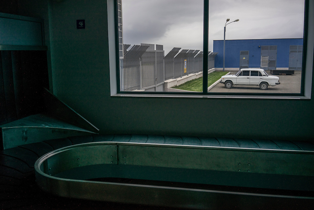 STEPANAKERT, NAGORNO-KARABAKH - APRIL 20: The baggage claim area at Stepanakert Airport, which despite a recent renovation remains closed to commercial traffic, on April 20, 2015 in Stepanakert, Nagorno-Karabakh. Since signing a ceasefire in a war with Azerbaijan in 1994, Nagorno-Karabakh, officially part of Azerbaijan, has functioned as a self-declared independent republic and de facto part of Armenia, with hostilities along the line of contact between Nagorno-Karabakh and Azerbaijan occasionally flaring up and causing casualties. (Photo by Brendan Hoffman/Getty Images) *** Local Caption ***