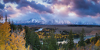 Grand Teton National Park is home to some amazing views.  One of those from an easily accessible point is the Snake River Overlook.  Add to that some stunning Fall colors and a sunset and you have something to remember.
