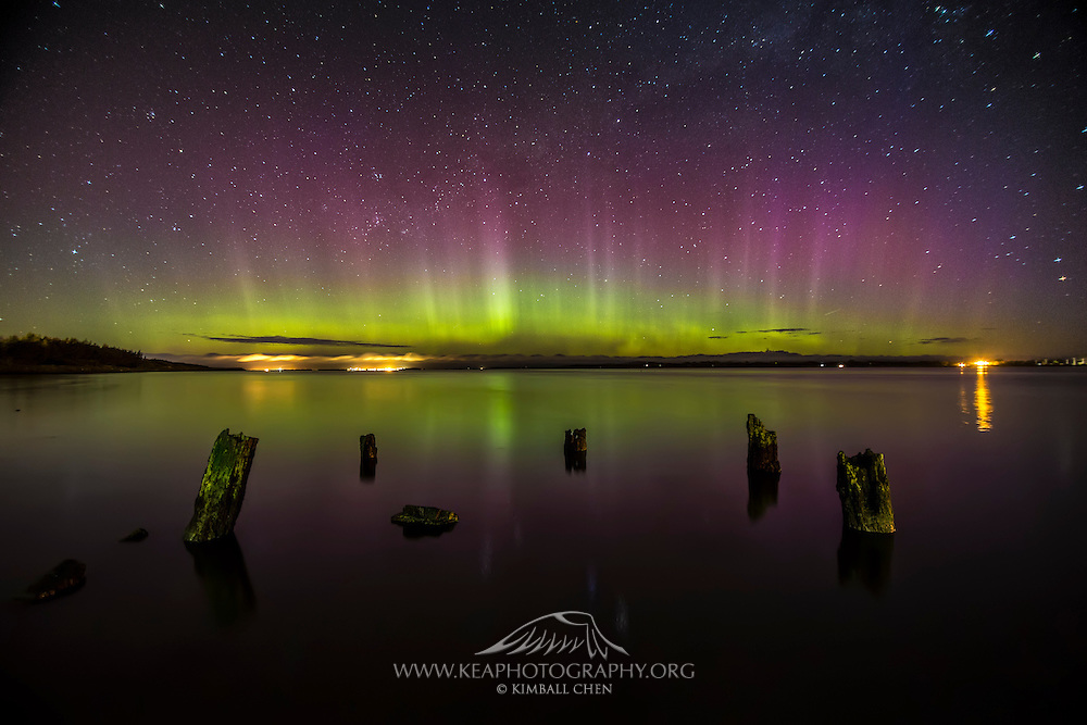 The latest coronal mass ejection from October 9th 2012 triggers a burst of Aurora Australis activity visible from the estuary at Invercargill, New Zealand.