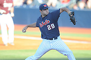 Ole Miss' Sam Smith pitches vs. Mississippi State at Oxford-University Stadium in Oxford, Miss. on Saturday, May 11, 2013. Ole Miss won 10-8 in the second game of a doubleheader..