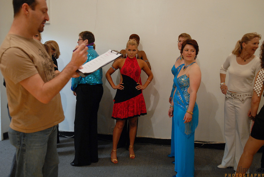 Women's latin competitors line up to compete at the 5 Boro Dance Challenge on May 5, 2007...The locally produced 5 Boro Dance Challenge, New York City's first major same-sex dance competition, was held at the Park Central Hotel in Manhattan from May 4-6, 2007. .