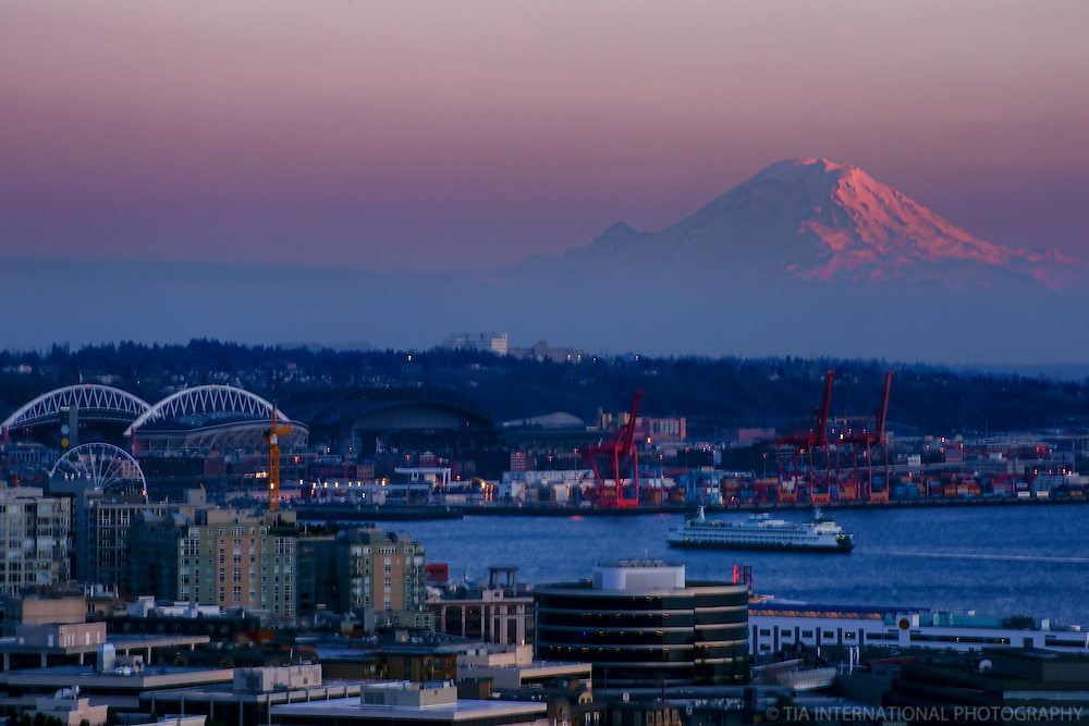 Mount Rainier & Elliott Bay @ Sunset