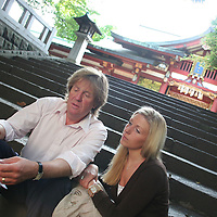 Tim Blackman with daughter Sophie, in Tokyo, Japan.  Lucy Blackman, (daughter of Tim, sister of Sophie) was murdered in Japan after meeting a Japanese man she met through her job as a hostess. Tokyo, Japan, 28.07.2005