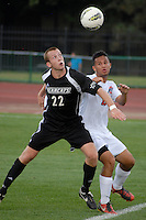 Ohio State forward Omar Vallejo (10) battles for a ball against Binghamton defender Tommy Klim (22) as OSU takes on Binghamton in the first half of an NCAA men's college soccer game in Columbus, Ohio on Sunday, Sept. 11, 2011, at Jesse Owens Memorial Stadium.