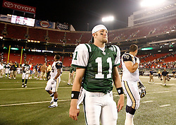 Aug 14, 2009; East Rutherford, NJ, USA;   New York Jets quarterback Kellen Clemens (11) walks off the field after their game at Giants Stadium. The Rams defeated the Jets 23-20.