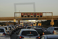 Traffic jam on highway, overhead signs, accident, Germany, Southern Germany