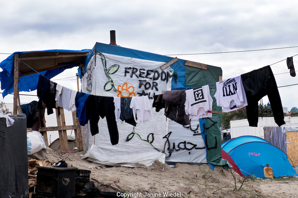 """""""Freedom for All"""" Home in the The Calais Jungle Refugee and Migrant Camp in France"""