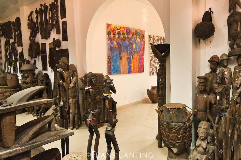 Traditional carvings for sale at the Artists Alliance Gallery, Accra, Ghana