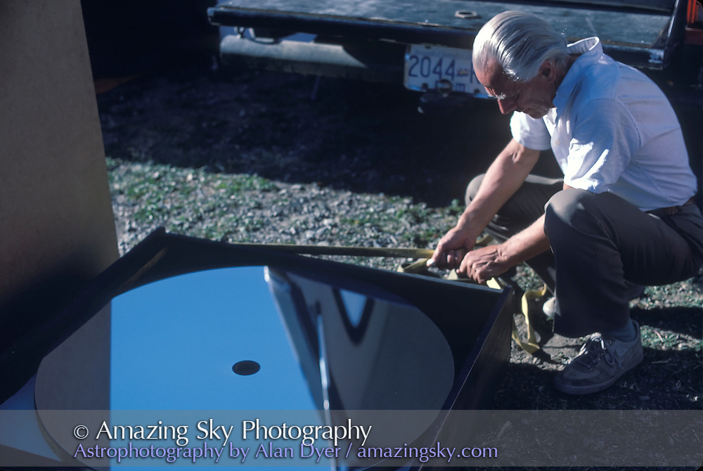 John Dobson in late 1980s at Mt. Kobau Star Party inspecting classic thin 36-inch mirror made by John Casino from Seattle.