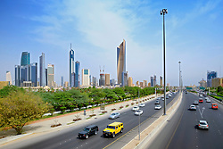 Skyline of Central Business District (CBD)  and First Ring Road motorway in Kuwait City, Kuwait