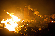 SAN BRUNO, CA - SEPTEMBER 9: Chimneys stand out of the wreckage September 9, 2010 in a San Bruno, California residential street. A massive explosion rocked a neighborhood near San Francisco International Airport.
