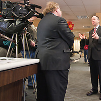02/08/11 Wilmington DE: Delaware Governor Jack Markell answers questions during a interview conducted by Corporate Communications Manager Jim Bum Tuesday morning at the New Wells Fargo Location In Wilmington Delaware...Special to The News Journal/SAQUAN STIMPSON