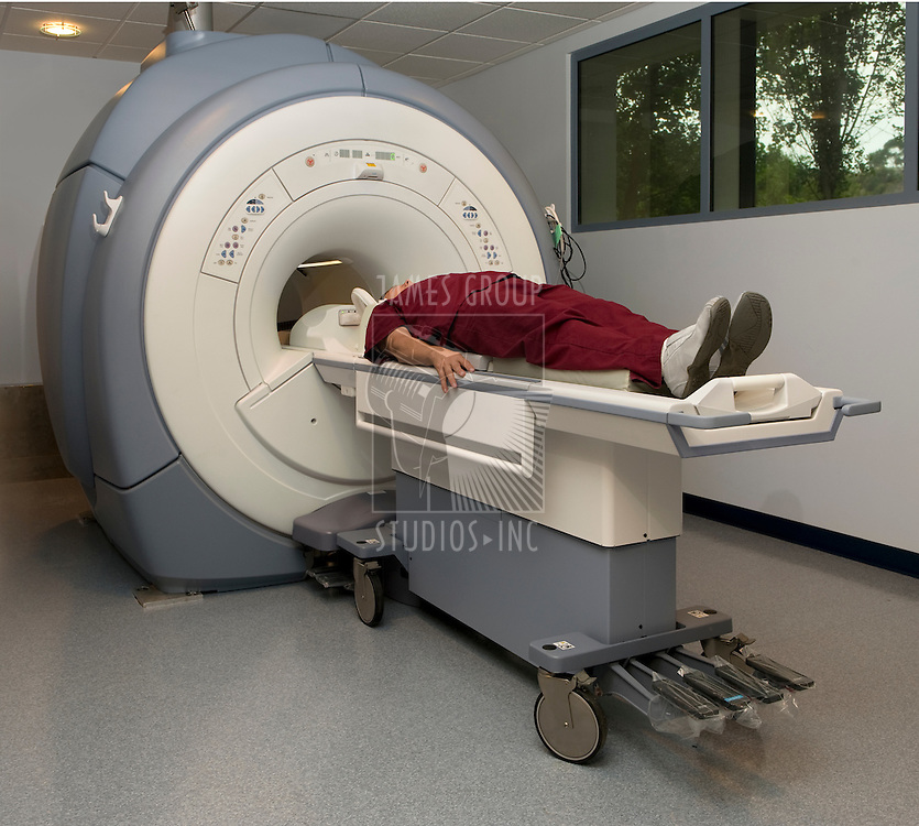 Patient about to enter a magnetic resonance imaging machine