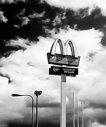 mcdonald's restaurant sign in estonia, view from below