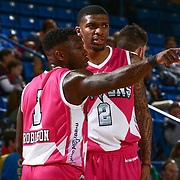 Delaware 87ers Guard NATE ROBINSON (1) and Delaware 87ers Guard DEVONDRICK WALKER (2) talk to each other in the mist of a time out in the first half of an NBA D-league regular season game between the Delaware 87ers and the Salt Lake City Stars (Utah Jazz) Friday, March 17, 2017 at The Bob Carpenter Sports Convocation Center in Newark, DEL
