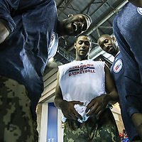 Delaware 87ers players huddle together prior to a NBA D-league regular season basketball game between the Delaware 87ers (76ers) and Springfield Armor (Brooklyn Nets) Saturday, Apr. 05, 2014 at The Bob Carpenter Sports Convocation Center, Newark, DEL.