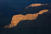 Sunlit ridges. Grand Canyon National Park.