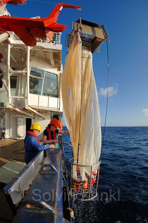 Die Doktorandin Svenja Kruse von der Abteilung für Biologische Ozeanographie des Alfred-Wegener-Instituts für Polar- und Meeresforschung in Bremerhaven spült mit einem Wasserschlauch die im Netz verbliebenen Plankton-Organismen hinunter in die einzelnen Fangbehälter des Multinetzes. Dieser Fang kam aus 1000 m Tiefe. | research | Deep Sea plankton | Tiefsee Plankton | Multinetz | Forschung