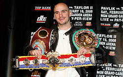 December 11, 2007; New York, NY, USA;  Unbeaten World Middleweight Champion Kelly Pavlik poses with his belts at the press conference announcing his rematch against former champion Jermain Taylor, which will take place Saturday, February 16, 2008, at MGM Grand in Las Vegas, NV.  Taylor missed attending the press conference due to the birth of his baby girl on Monday evening.