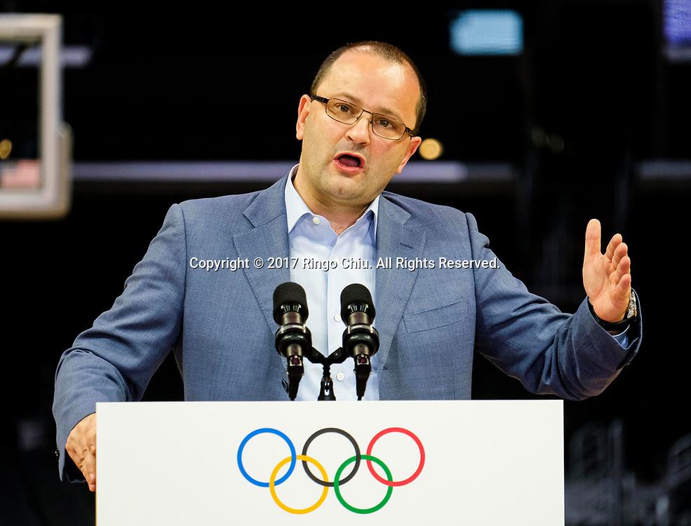 International Olympic Committee Evaluation Commission Chair Patrick Baumann speaks in a news conference at Staples Center, Friday, May 12, 2017, in Los Angeles, the United States. A team of International Olympic Committee delegates wrap up their a three-day tour of Los Angeles as the city attempts to demonstrate its readiness to stage the 2024 Olympics.<br />   (Xinhua/Zhao Hanrong)(Photo by Ringo Chiu/PHOTOFORMULA.com)<br /> <br /> Usage Notes: This content is intended for editorial use only. For other uses, additional clearances may be required.