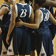 11/17/11 Newark DE: Penn State Sophomore Forward #23 Ariel Edwards and her penn state team mates huddle up before game time prior to a NCAA Women's College basketball game, Thursday, Nov. 17, 2011 at the Bob carpenter center in Newark Delaware...Delaware defeat The Lady Nittany Lions of Penn State 80-71, behind Elena Delle Donne 40 point scoring effort...Special to The News Journal/SAQUAN STIMPSON