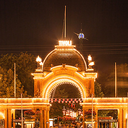 Tivoli Gardens (or simply Tivoli) is a famous amusement park and pleasure garden in Copenhagen, Denmark. The park opened on August 15, 1843 and is the second oldest amusement park in the world, after Dyrehavsbakken in nearby Klampenborg.