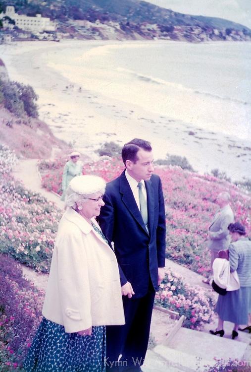 1955 Vintage slide scan of Laguna Beach visitors.