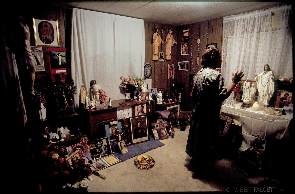 DADE CITY, FLORIDA:  A prayer room was set-up in the home of visionary Vimer Nagun to handle the amount of items that were sent for blessings. Thousands of pilgrims have visited the teenagers home in the quest from the Mother of Jesus.  (Photo by Robert Falcetti). .