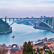 Oporto, December 2012.Arrabida bridge on concrete, Edgar Cardoso 1963, 615 meters over Douro river.