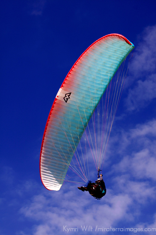 USA, California, San Diego. Paraglider, Clouds and Sky.