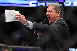 Montreal, Quebec, CAN - November 17, 2012: Announcer Bruce Buffer introduces Interim UFC Welterweight Champion Carlos Condit before his main event bout against Georges St. Pierre at UFC 154 at the Bell Centre in Montreal, Quebec, Canada. St. Pierre won via unanimous decision.