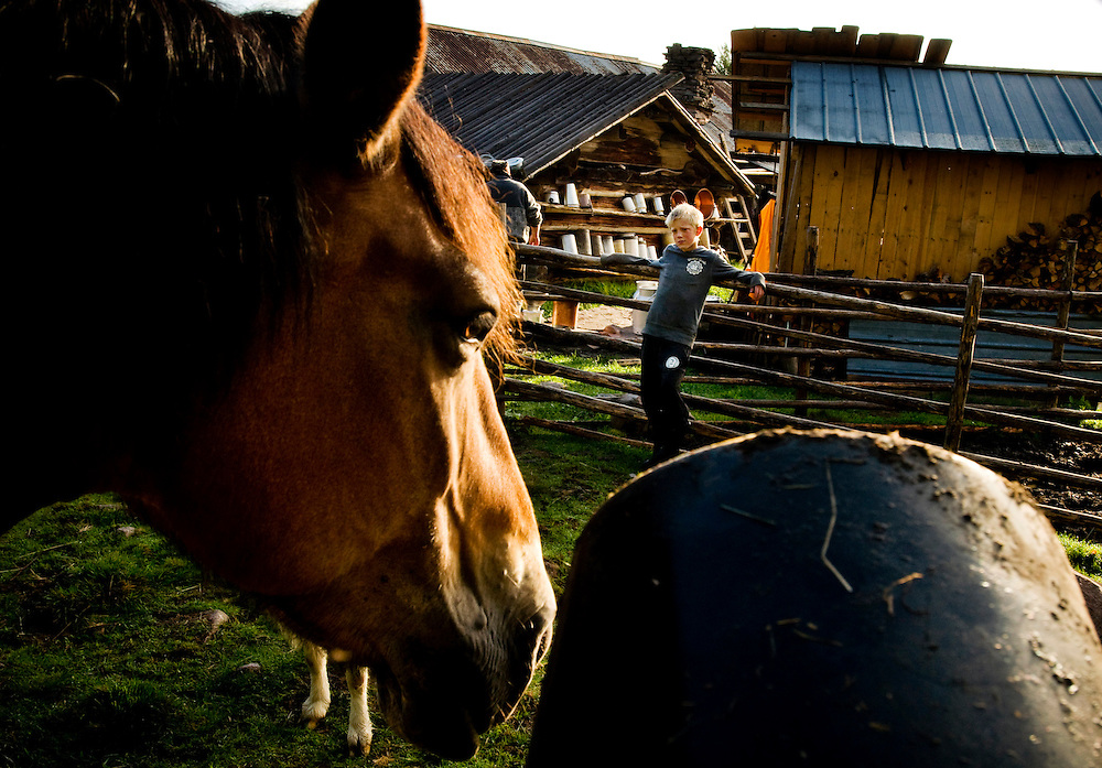 "Casper Axelsson, 10, with a horse outside the house where he  lives with his family on a  ""Fäbod"" in the forests outside Älvdalen, Dalarna, Sweden...Photographer: Chris Maluszynski /MOMENT"