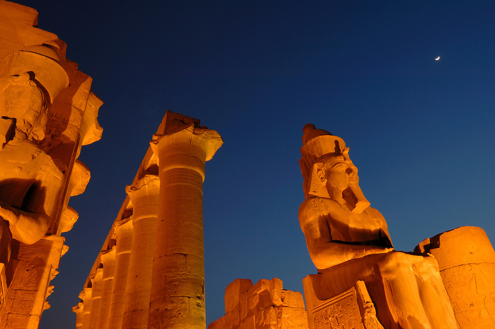 Luxor temple at night. Luxor, Egypt.