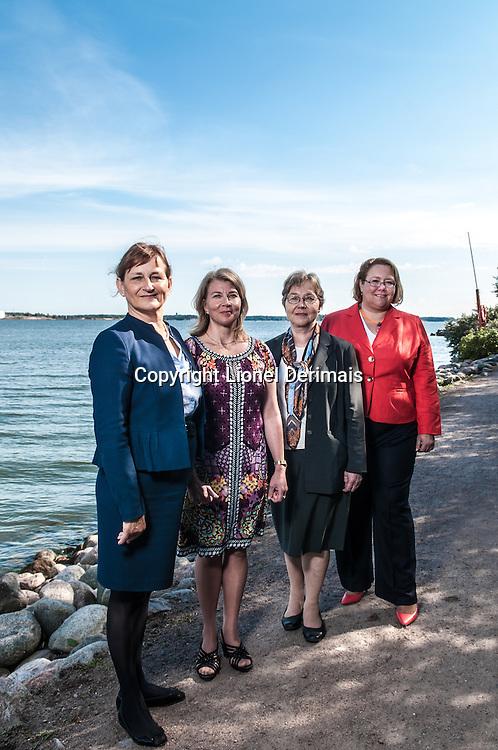 From Left to Right: Finnish ambassadors Hannele Voionmaa (Algeria), Tanja Jääskeläinen (Tunisia & Lybia), Christina Harttila (Morocco) and Tuula Yrjölä (Egypt) photographed in Helsinki on August 23rd 2013.