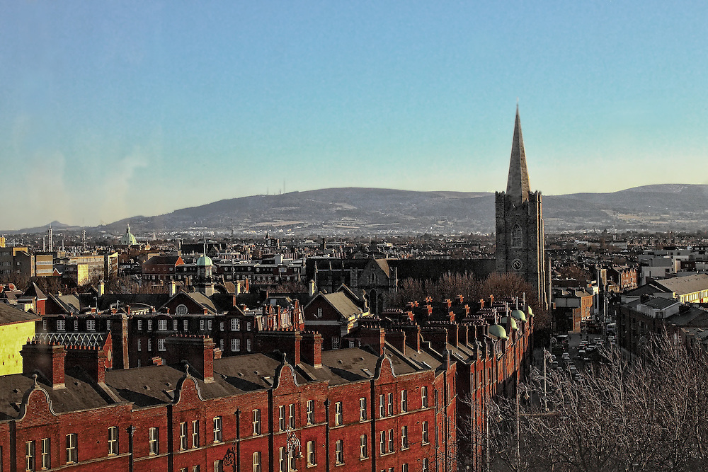 View of Dublin from the tower of Christ Church Cathedral, facing south, towards St. Patricks Cathedral in Dublin, Ireland.