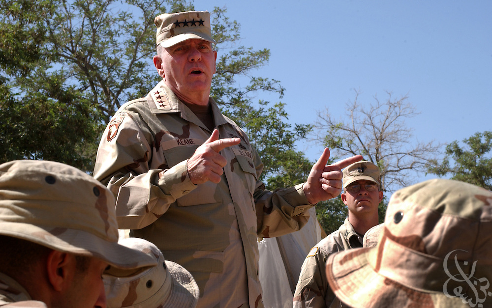 U.S. Army Vice Chief of Staff, general John M. Keane addresses a group of Army engineers during a May 25, 2002 assembly at the Bagram air base in Afghanistan. Keane commended the troops for their hard work in support of Operation enduring Freedom in Afghanistan.