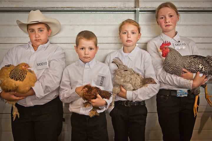 4H kids, Caleb Glaser, Aidan Siegel, Isabella Siegel, and Jaida Vroman with their prize winning poultry entries at the Alaska State Fair, Palmer, Alaska