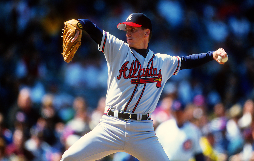 CHICAGO - UNDATED:  Tom Glavine #47 of the Atlanta Braves pitches against the Chicago Cubs during an MLB game at Wrigley Field in Chicago, Illinois.  Glavine played for the Braves from 1987-2002 and again in 2008.  (Photo by Ron Vesely)