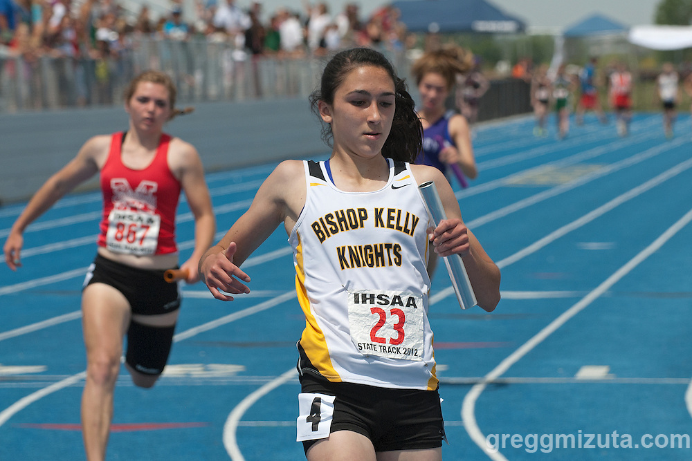 Bishop Kelly's 4x100 meter relay anchor Michaela Piechowski, crosses the finish line first during the 4A Idaho Track and Field Championships on May 19, 2012 at Middleton High School, Middleton, Idaho. Bishop Kelly set a new 4A state meet classification record with a time of 49.69. The former record of 49.71 was set by Kuna in 2004.