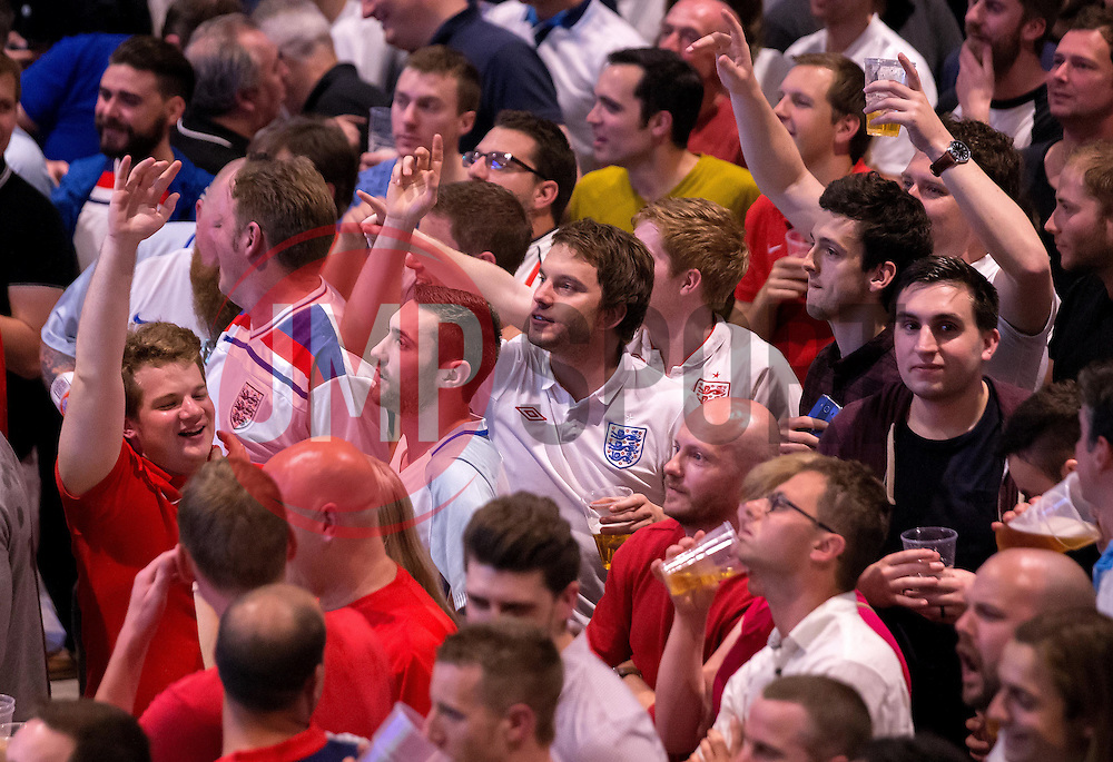Fans at the Sports Bar and Grill at Ashton Gate celebrate the goal scored by Eric Dier of England against Russia - Mandatory by-line: Robbie Stephenson/JMP - 11/06/2016 - FOOTBALL - Ashton Gate - Bristol, United Kingdom  - England vs Russia - UEFA Euro 2016