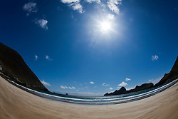 Oiseval (left) on the beach at Village Bay, Hirta, the largest island of the St Kilda archipelago, west-northwest of North Uist in the North Atlantic Ocean. It is one of Scotland's five World Heritage Sites..©Michael Schofield..