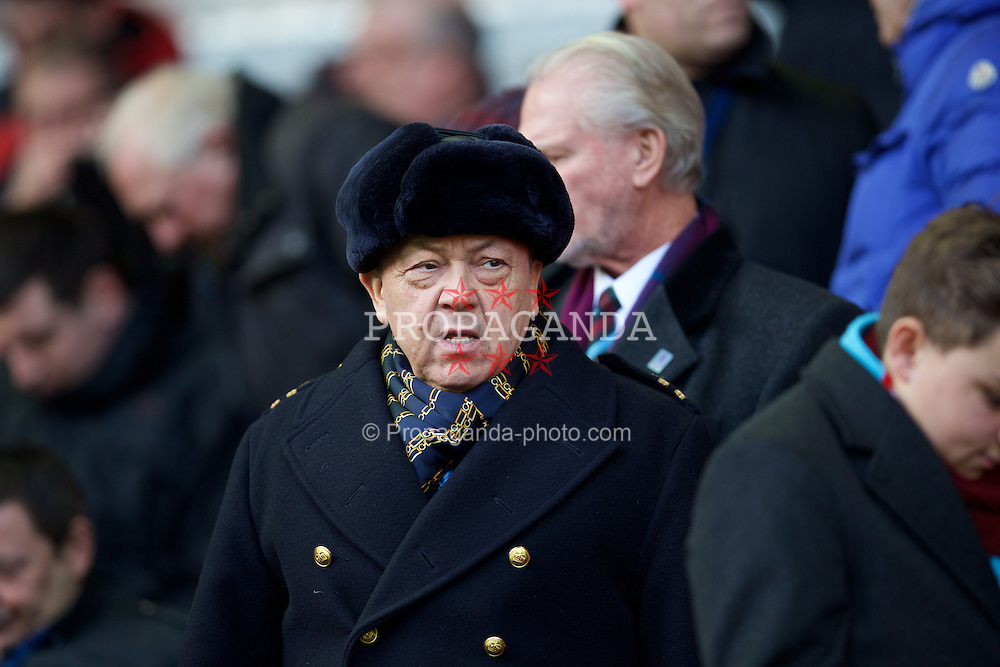 LIVERPOOL, ENGLAND - Saturday, January 31, 2015: West Ham United's owner David Sullivan before the Premier League match against Liverpool at Anfield. (Pic by David Rawcliffe/Propaganda)