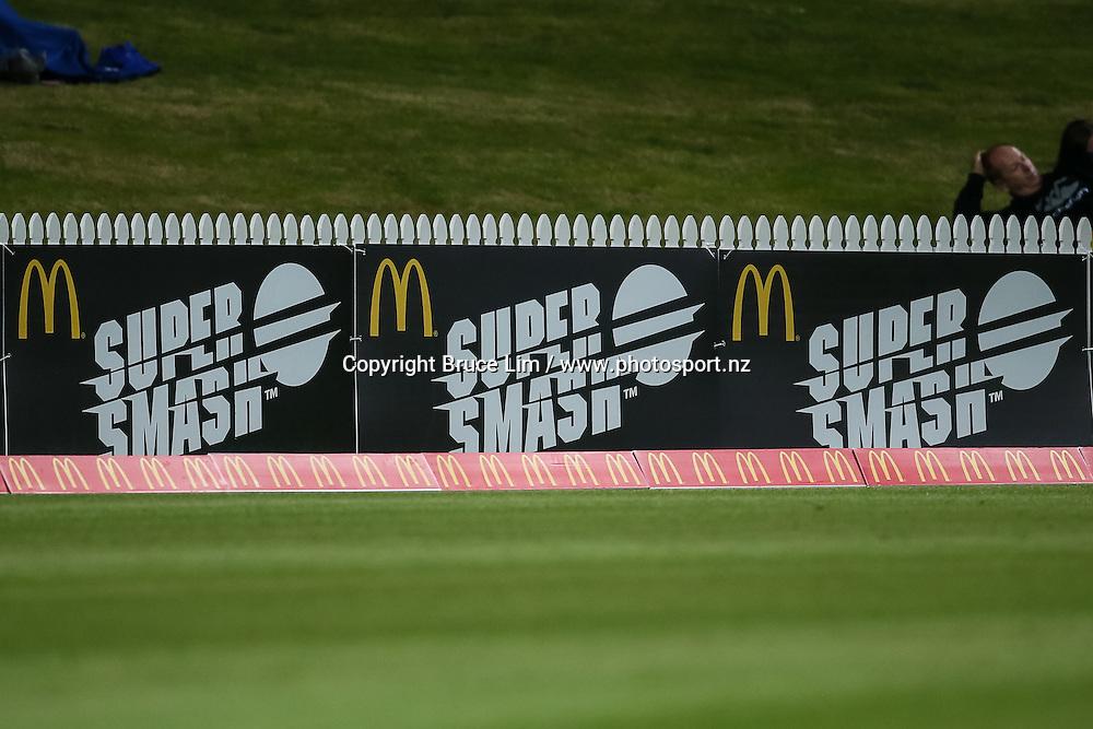 McDonalds Super Smash signage during the McDonalds Super Smash T20 cricket match - Knights v Aces played at Seddon Park, Hamilton, New Zealand on Saturday 17 December.<br /> <br /> Copyright photo: Bruce Lim / www.photosport.nz