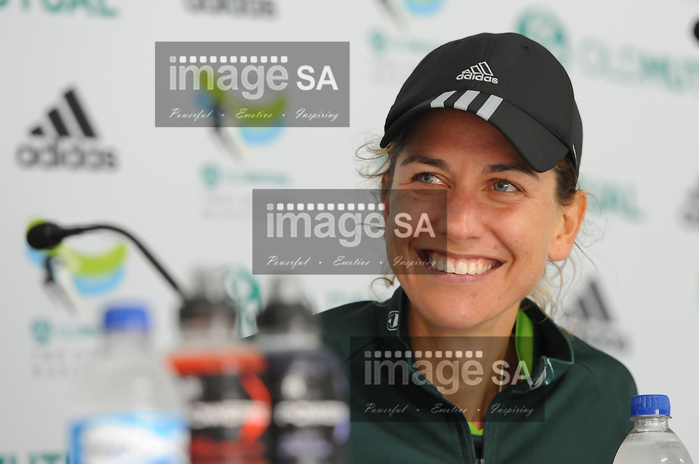 CAPE TOWN, South Africa - Saturday 30 March 2013, 2nd place Rene Kalmer at the press conference during the half marathon of the Old Mutual Two Oceans Marathon. .Photo by Roger Sedres/ ImageSA