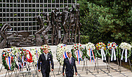 15-8-2015 - THE HAGUE - King Willem-Alexander opens along Jan-Kees Wiebenga, chairman Memorial Foundation August 15, 1945, the defile at the memorial to the Indian Monument of the Japanese surrender. King and Prime Minister Rutte live Saturday August 15 seventy-year commemoration of the surrender of Japan on August 15, 1945. The memorial will take place at the Indian Monument in The Hague.COPYRIGHT ROBIN UTRECHT/freek van den berg <br /> DEN HAAG - Koning Willem-Alexander opent samen Jan-Kees Wiebenga, voorzitter Stichting Herdenking 15 augustus 1945, het defile tijdens de herdenking bij het Indisch Monument van de Japanse capitulatie.1945 | bij | capitulatie | en | herdenking | japan | koning | minister | president