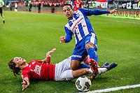 UTRECHT - FC Utrecht - SC Heerenveen , Voetbal , Eredivisie , Seizoen 2016/2017 , Stadion Galgenwaard , 05-02-2017 ,   SC Heerenveen speler Lucas Bijker (r) in duel met FC Utrecht speler Giovanni Troupee (l)