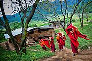 Bhutan, Chimi Lhakhang, Lama Kunley, Fertility, Monastery, Temple, monk, monks